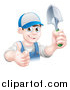 Vector Illustration of a Young Brunette White Male Gardener in Blue, Holding up a Shovel and Giving a Thumb up by AtStockIllustration