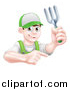 Vector Illustration of a Young Brunette White Male Gardener in Green, Holding a Garden Fork and Pointing over a Sign by AtStockIllustration