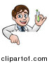 Vector Illustration of a Young Male Scientist Pointing down and Holding a Test Tube over a Sign by AtStockIllustration