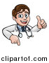 Vector Illustration of a Young Male Veterinarian or Doctor Giving a Thumb up over a Sign by AtStockIllustration