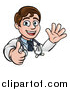 Vector Illustration of a Young Male Veterinarian or Doctor Waving and Giving a Thumb up over a Sign by AtStockIllustration