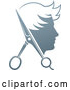 Vector Illustration of a Young Man Haircut Concept Logo with Scissors by AtStockIllustration