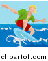 Vector Illustration of a Young Surfer Dude Surf Boarding by AtStockIllustration