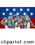 Vector Illustration of Aggressive Elephant Men Republican Candidates Fighting over an American Flag by AtStockIllustration