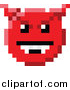 Vector Illustration of an 8 Bit Video Game Style Devil Emoji Smiley Face by AtStockIllustration