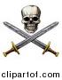 Vector Illustration of an Engraved Pirate Skull Above Crossed Swords by AtStockIllustration