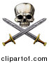 Vector Illustration of an Engraved Pirate Skull and Cross Swords by AtStockIllustration