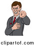Vector Illustration of an Evil White Business Man Pointing His Finger Outwards by AtStockIllustration