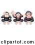 Vector Illustration of Black and Tan Three Wise Monkeys Covering Their Ears, Eyes and Mouth, Hear No Evil, See No Evil, Speak No Evil by AtStockIllustration