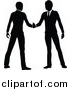 Vector Illustration of Black and White Silhouetted Business Men Shaking Hands by AtStockIllustration