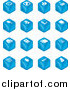 Vector Illustration of Blue Cube Icons: Arrows, Joystick, Button, Printer, Information, Compose, Reminder, Calculator and Cubes by AtStockIllustration