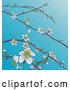 Vector Illustration of Branches with Spring Blossoms over Blue Sky by AtStockIllustration
