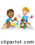 Vector Illustration of Cartoon Happy White and Black Boys Painting and Playing with Blocks by AtStockIllustration