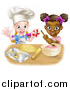 Vector Illustration of Cartoon Happy White and Black Girls Making Pink Frosting and Star Shaped Cookies by AtStockIllustration
