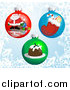 Vector Illustration of Christmas Bauble Ornaments with Pictures of Santa, a Stocking and Pudding by AtStockIllustration