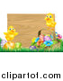 Vector Illustration of Cute Yellow Chicks on Easter Eggs and a Basket in the Grass, over a Blank Wood Sign by AtStockIllustration
