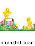 Vector Illustration of Cute Yellow Chicks on Easter Eggs and a Basket in the Grass, over White Text Space by AtStockIllustration