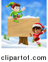 Vector Illustration of Energetic Christmas Elves by a Wooden Sign in a Winter Landscape by AtStockIllustration