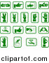 Vector Illustration of Green Hand Icons with Sign Language, Money, and Diamonds, over a White Background by AtStockIllustration
