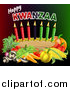 Vector Illustration of Happy Kwanzaa Greeting with Vegetables and Candles by AtStockIllustration