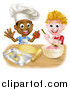 Vector Illustration of Happy White and Black Boys Making Frosting and Cookies by AtStockIllustration
