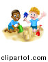 Vector Illustration of Happy White and Black Boys Playing and Making a Sand Castle on a Beach by AtStockIllustration