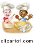 Vector Illustration of Happy White and Black Boys Wearing Toque Hats Making Frosting and Cookies by AtStockIllustration