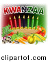 Vector Illustration of Kwanzaa Text with Vegetables and Candles by AtStockIllustration