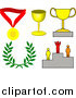 Vector Illustration of Medal, Trophy Cups, Laurel and Winner on a Podium by AtStockIllustration
