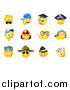 Vector Illustration of Occupational Yellow Smiley Face Emoji Emoticons by AtStockIllustration