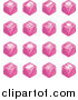 Vector Illustration of Pink Cube Icons: Tickets, Camera, Bed, Hotel, Bus, Restaurant, Moon, Tree, Building, Shopping Bags, Shopping Cart, Bike, Wine Glasses, Luggage, Train Tracks, Road, and Restrooms by AtStockIllustration