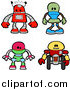 Vector Illustration of Red, Green, Green and Yellow Robots by AtStockIllustration
