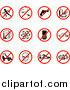Vector Illustration of Restriction Icons Showing No Running, Smoking, Guns, Fast Food, Beer, Atoms, Cell Phones, Driving, Skating, Aliens, Shoes, and Bells by AtStockIllustration