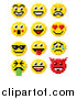 Vector Illustration of Retro 8 Bit Video Game Style Emoji Smiley Faces by AtStockIllustration