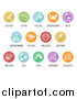 Vector Illustration of Round White and Colored Icons of the 8 FDA Major Allergens by AtStockIllustration