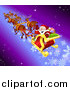 Vector Illustration of Santa Waving While Flying by in His Sleigh with His Reindeer by AtStockIllustration
