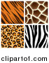 Vector Illustration of Seamless Giraffe Leopard Zebra and Tiger Stripe Animal Prints by AtStockIllustration