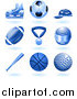 Vector Illustration of Shiny Blue Ball and Sport Icons by AtStockIllustration