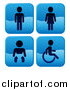 Vector Illustration of Shiny Blue Square Male, Female, Baby and Handicap Bathroom Icons by AtStockIllustration
