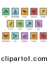 Vector Illustration of Square Colored Icons of Major Allergens by AtStockIllustration