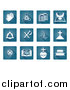 Vector Illustration of White Christian Icons on Blue Square Tiles by AtStockIllustration