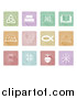 Vector Illustration of White Christian Icons on Colorful Pastel Tiles by AtStockIllustration