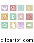 Vector Illustration of White Christian Icons on Pastel Colored Tiles by AtStockIllustration