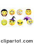 Vector Illustration of Yellow Halloween Smiley Emoji Emoticon Faces by AtStockIllustration