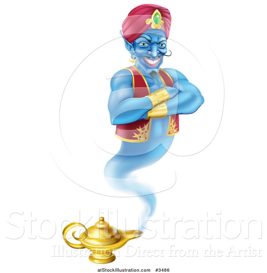 Illustration Of A Genie Emerging From His Lamp