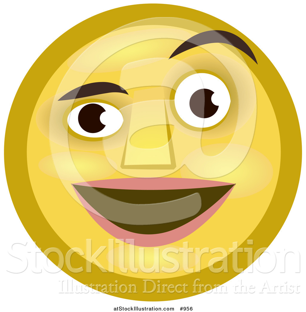 Illustration Of An Emoticon Smiling And Raising Eyebrow By