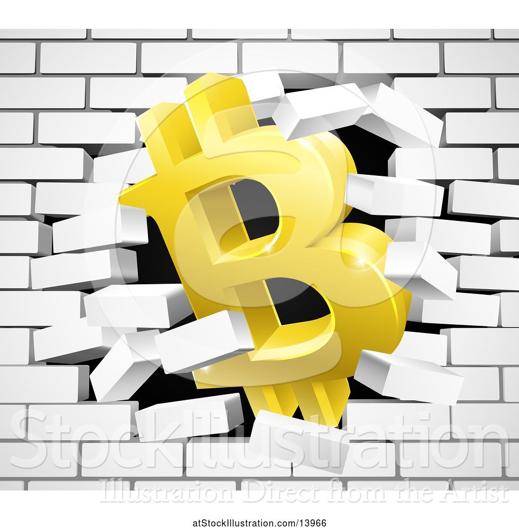 Vector Illustration of 3d Gold Bitcoin Currency Symbol