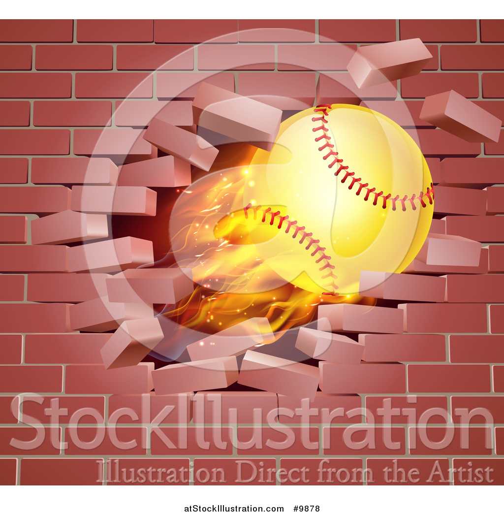 Vector Illustration of a 3d Flying and Blazing Softball with a Trail ...