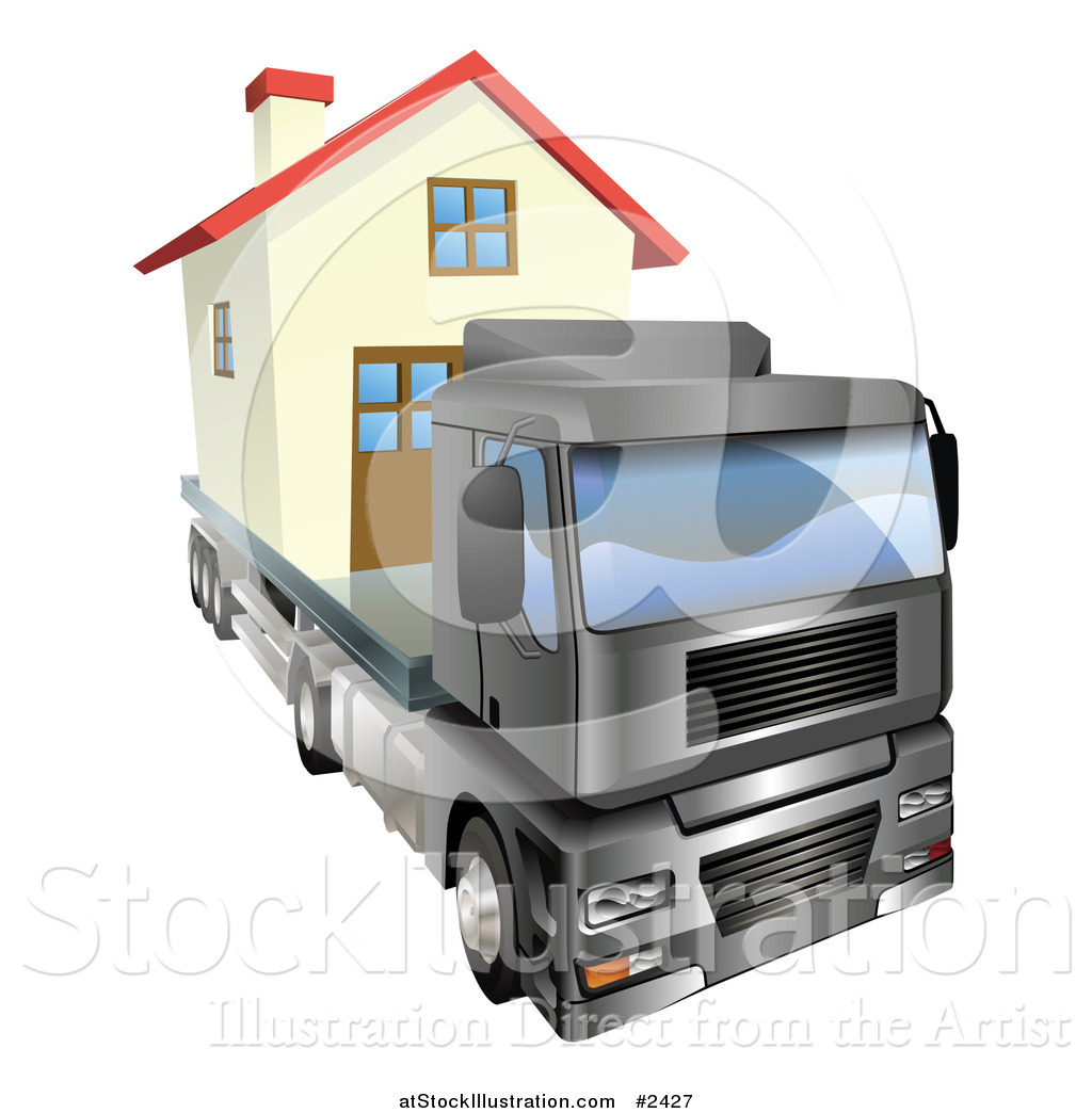 vector illustration of a 3d lorry truck moving a home by rh atstockillustration com making a homeless application making a homepage