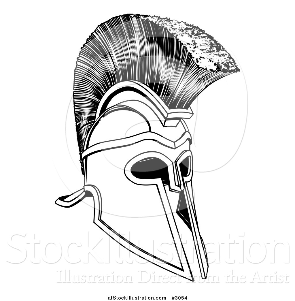 9a8fc5e47 Vector Illustration of a Black and White Ancient Corinthian or Spartan  Helmet